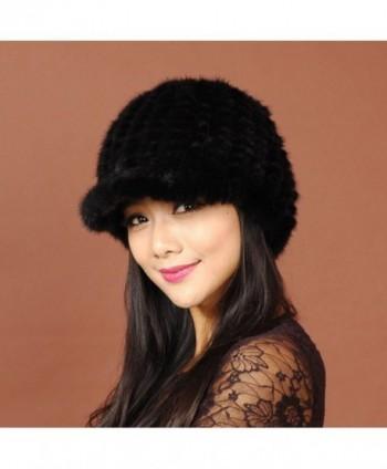 Women s Mink Fur Knit Newsboy Hat Multicolor - Black - CZ11M0CUW29 75d4722425