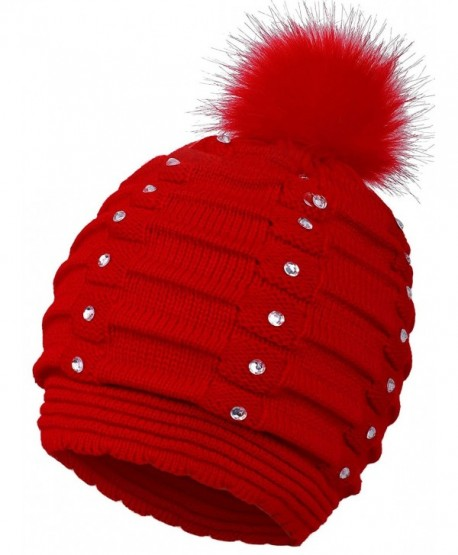 EPGM Women's Thick and Warm Knit Winter Pompom Beanie Hat w/Sequins - Red - CA188AR926Y