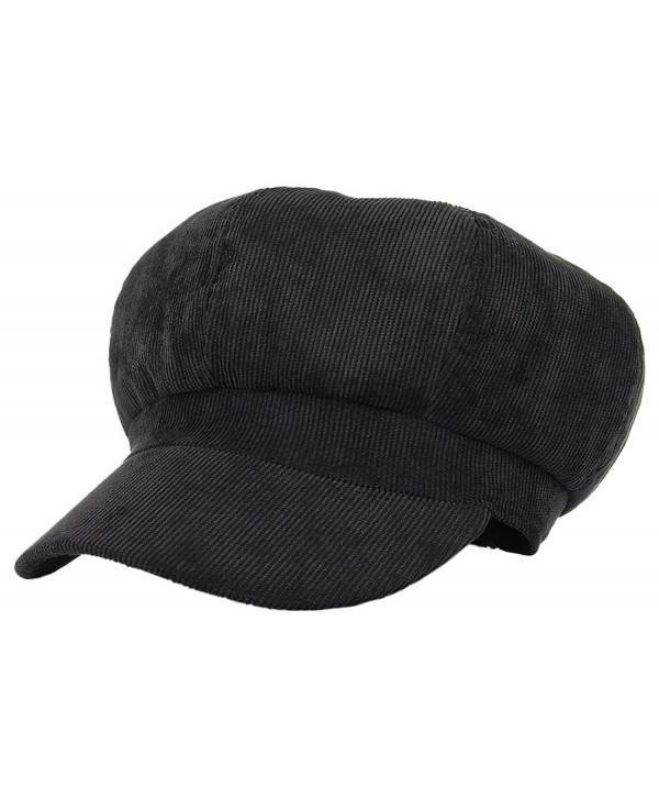 Jelord Women Corduroy 8 Panel Newsboy Cabbie Cap Peaked Beret Hat - Black - CE18620IS9Z