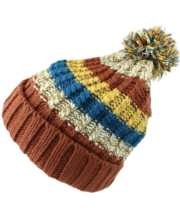 bogo Brands Fleece Lined Knit Pom Pom Beanie Hat Skull Cap 38350-2 by - Brown - CG188DQ99ZI