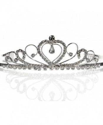 SC Bridal Wedding Prom Silver Tiara Crown With Crystal Heart 42206 - Silver - CA111XNZGR7