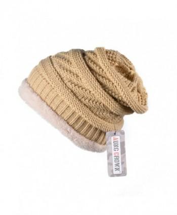 AUNG CROWN Winter Beanie Hats Warm Fleece Women Trendy Slouchy Soft Knit Caps - Khaki - CC189I6UD64