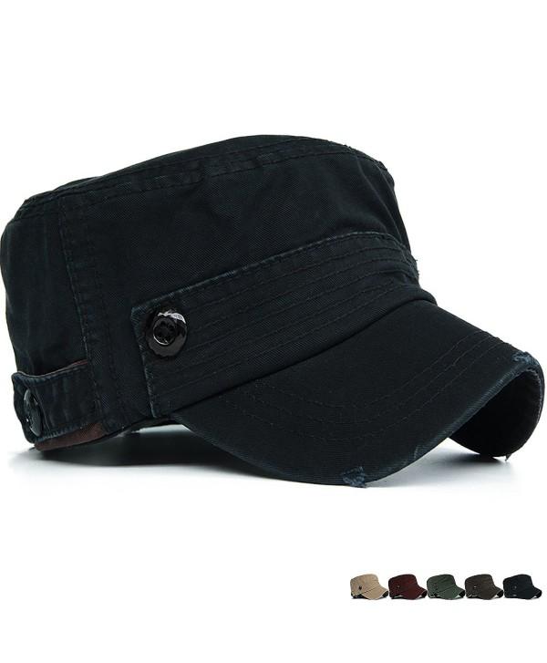 Rayna Fashion Unisex Adult Cadet Caps Military Hats Plastic Button Stripe - Black - CT12HKKJPUZ