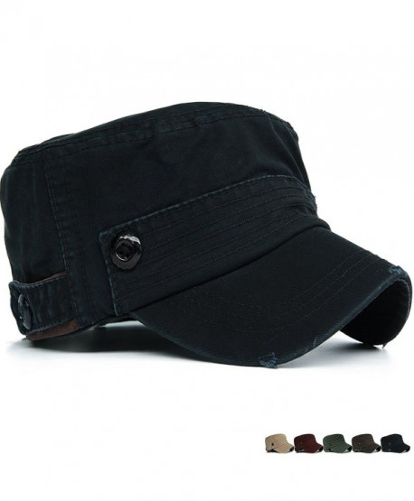 Unisex Adult Cadet Caps Military Hats Plastic Button Stripe - Black -  CT12HKKJPUZ