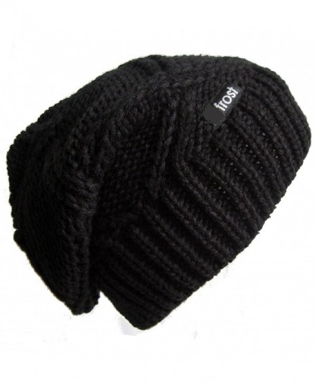 Frost Hats Slouchy Beanie for Women | Plush Knitted Winter Hat Stocking Cap M113NF - Black - C411C1IKO7F