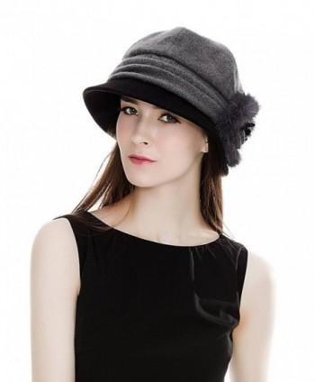 SIGGI Cloche Round Hat For Women 1920s Fedora Bucket Vintage Hat Flower Accent - 69160_grey - CA120XDSXJP