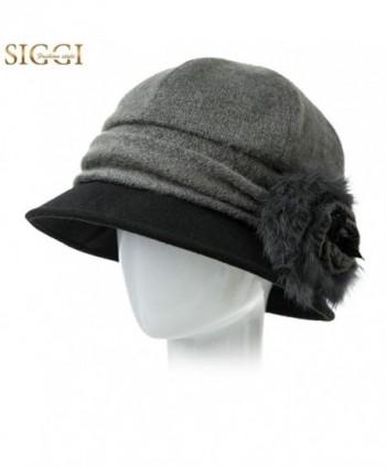 SIGGI Cloche Round Hat For Women 1920s Fedora Bucket Vintage Hat Flower  Accent - 69160 grey -  Cloche Bucket Vintage Flower Accent ... 5270dbb1670e