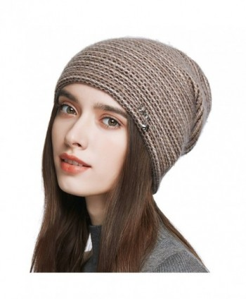 Women's Slouchy Double Layered Wool Knitted Beanie Cap Crochet Cotton Hat for Winter - Brown - CN1876TXHLR