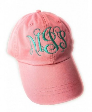 Mary's Monograms Monogrammed/Personalized Woman's Coral Baseball Cap - CR12ITA5QT3