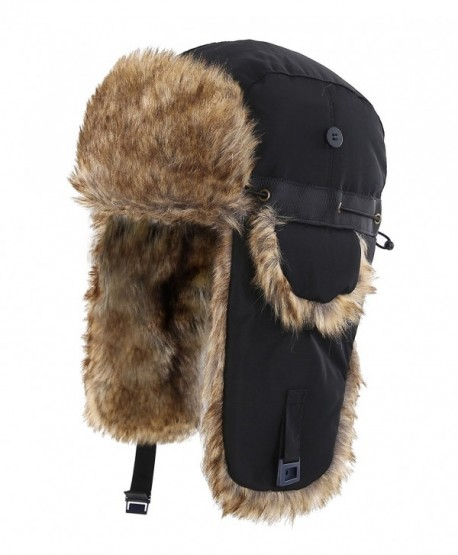 7cb843b5b6e6b Home Prefer Mens Winter Faux Fur Trapper Hat Windproof Hunting Hat With  Earflaps - Blkgw2 -