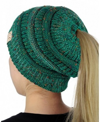 C.C BeanieTail Cotton Blend All Season Daily Messy High Bun Ponytail Beanie Hat - Confetti Sea Green - C2189Q9GEOZ