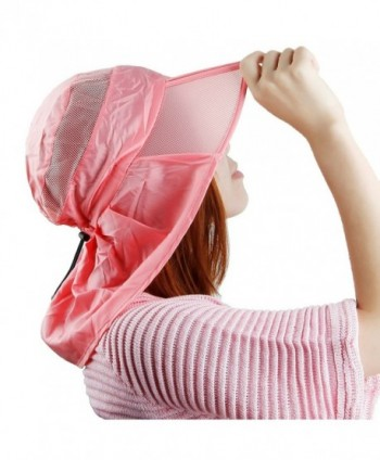 Samtree Women Sun Protection Hat-Ultra Thin Lightweight Foldable Garden Flap Cap - 06-watermelon Red - CQ12EMMFWPV
