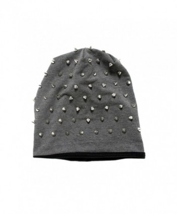 Rocker Studded Knit Beanie by Inked (More Options) - Grey - C117Y0488YG