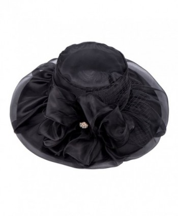 Lawliet Womens Kentucky Derby Wide Brim Sun Dress Church Wedding Hat A342 - Black - CD12EZ1FUKB