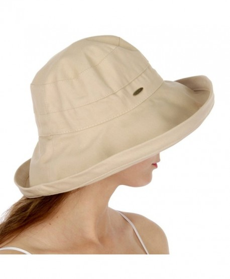 fashion2100 Serenita Cotton Cloche Hat - Khaki - CQ17WWU5Z24