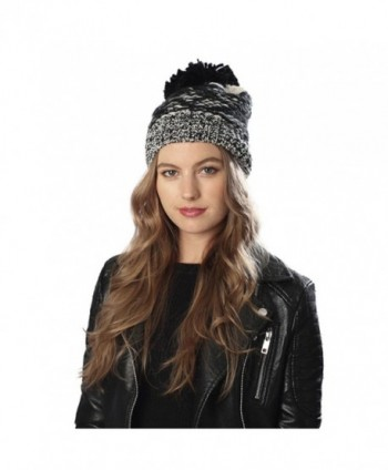Women's Handcrafted Chunky Knitted Pom Pom Beanie Hat or Mitten Gloves with Hair Tie. - Black - C412N74EJ4G