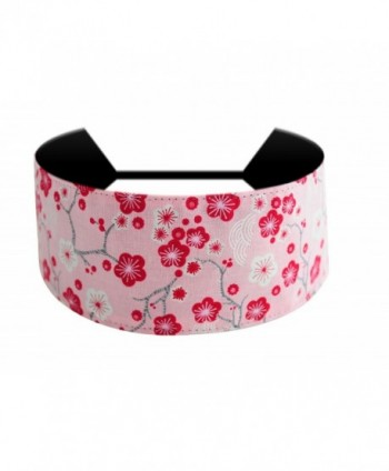 Bargain Headbands- Red Cherry Blossoms Over Light Pink Cute Soft Wide Headband - C9114BM5E4R