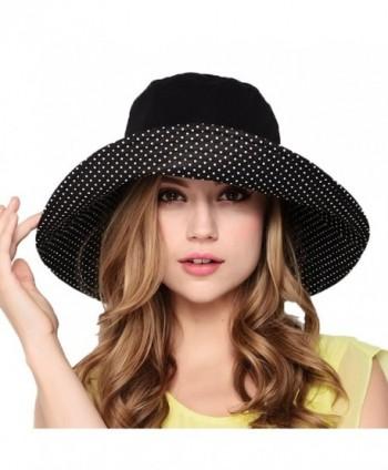 Maitose Women's Wide Brim Foldable Sun Hat - Black - CV11AZ6GDC9
