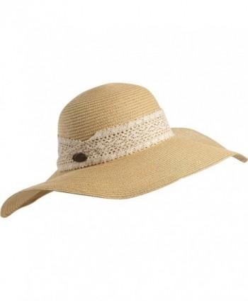 Turtle Fur Macie Women's Wide Floppy Brim Straw Sun Hat w/ Lace Trim Vermont Collection Sun Style - Natural - C211YXPEQAJ