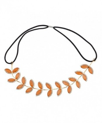 Lux Accessories Leaf Peach Pave Crystal Stretch Headband Head Band - C7125R463S3