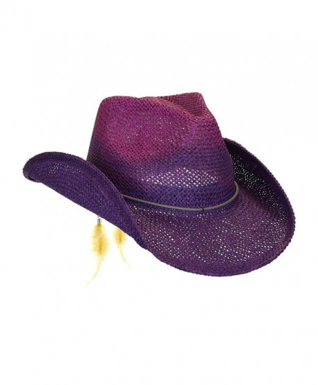 Peter Grimm Women's Toyo Straw Summer Cowboy Hat w/Shapeable Brim - Purple - C512CMTZ6ST