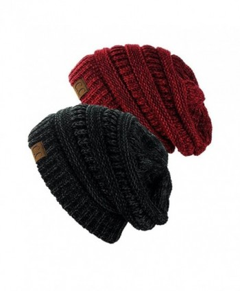 NYFASHION101 Exclusive Unisex Two Tone Warm Cable Knit Thick Slouch Beanie Cap (Black/CHarcoal & 2 Tone Burgundy) - CG12O0HF26S