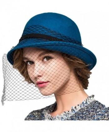 5fff64d8197 Maitose Women s Wool Felt Flowers Church Bowler Veil Hats - Blue -  C7128NIYOH7