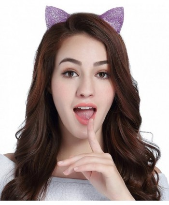 Christmas Headband Deer Antlers Costume Xmas Holiday Party Reindeer Cat Ears - Purple - Cat Ears - CG184RQHCN4