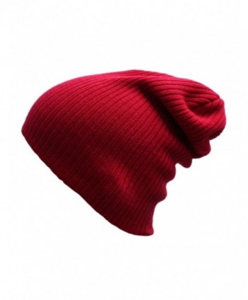 EVRFELAN Slouchy Beanie Casual Knitted - Dark Red1 - C718549ZI5U