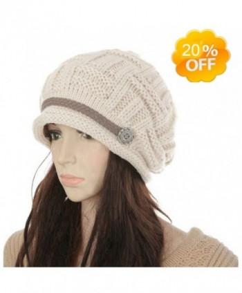 YB-store Women's Winter Knit Beanie Cap Warm Earmuffs Slouchy Hat Chunky Cap Button Strap Cap - Beige - CY18629KCE7