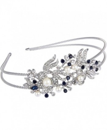 EVER FAITH Austrian Crystal Cream Simulated Pearl Flower Leaf Hair Head Band Silver-Tone - Blue - CH1224JT2Z5