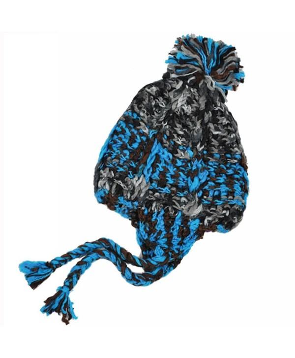 Women's Girl's Braided Soft Acrylic Winter Warm Snow Hat Beanie - Turquoise - CZ1106AYBVT
