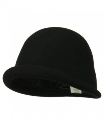Women's Unique Brim Wool Cloche - Black - CG11ONYYMM3