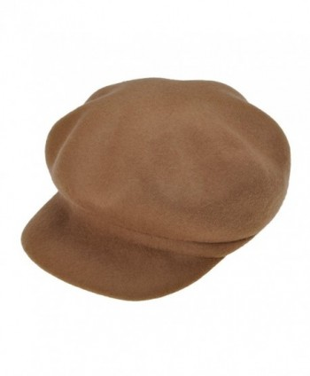 ZLYC Women Wool Felt Octagonal Hat Newsboy Cabbie Beret Cap with Visor Brim - Camel - CS12N27S7N2