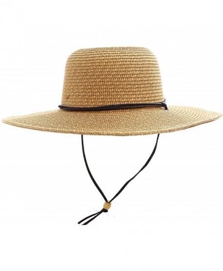 Simplicity Women s Sun Protecting Large Brim Straw Hat w  Chin Strap -  Natural-brown c6f0afb4f00