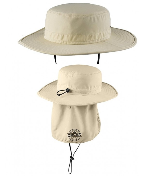 Koloa Surf Co. Wide-Brim Outdoor Hat with Sun Flap and UPF Protection - Stone - C512CV45INX
