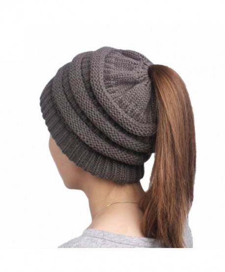 Digood_Hat Women Knit Hat Beanie Turban Head Wrap Cap Trendy Cable Stretch Chunky Winter Bun Ponytail - Gray - CE188N7NGW2