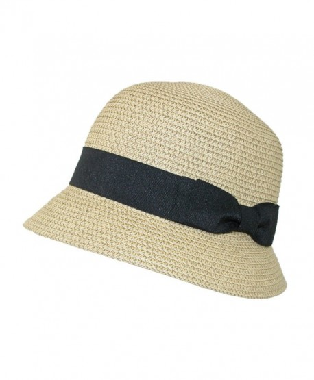 Jeanne Simmons Women's Paper Braided Summer Sun Cloche Hat - Natural - C411WO4IVS5