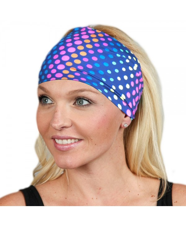 Wide Headbands for Women Headwrap Yoga Headband Women's Headband Workout band - Colored Dots - CI1899T9MEA