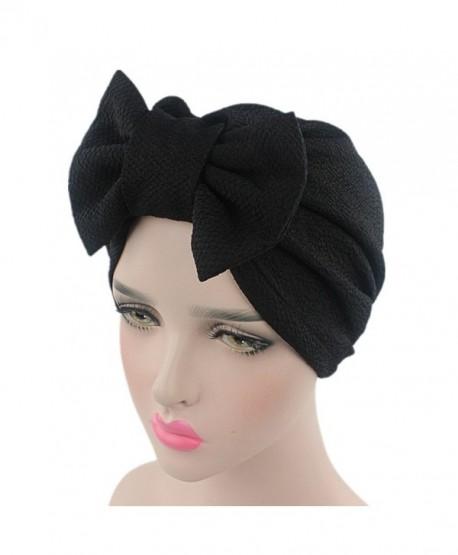 beauty YFJH Womens Bowknot Stretch Hijab Turban Headwear Cap - Black - CI186HL8QEG