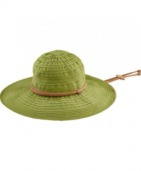 San Diego Hat Company Women's 4-Inch Brim Ribbon Floppy Sun Hat - Pesto - CI11HAKF6L7