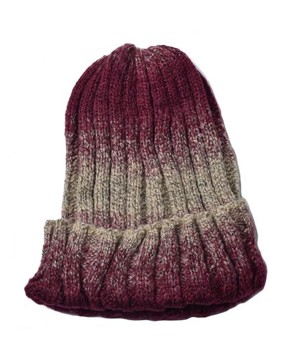 Woogwin Mens Womens Beanie Winter Knitting Cap Wool Warm Slouchy Beanie Hat - Gradient Color - Dark Red - CR12NYIVHRV