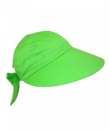 CTM Women's Cotton Wide Brim Facesaver Sun Visor Hat - Lime Green - CM12G0FHMBZ