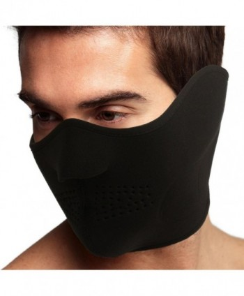 Men's Thermal Neoprene Fleece Warm Breathable Half Face Mask Ski Snowboard Black - C311PLSYUSB