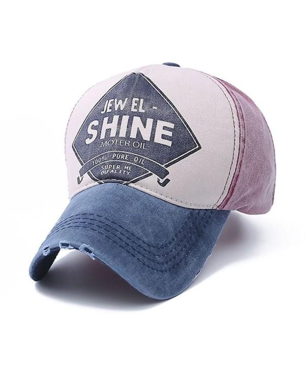 Home Prefer Distressed Vintage Baseball Cap Cotton Twilled Adjustable Trucker Hat - Navy Blue/Wine Red - CO12CUVJC0H