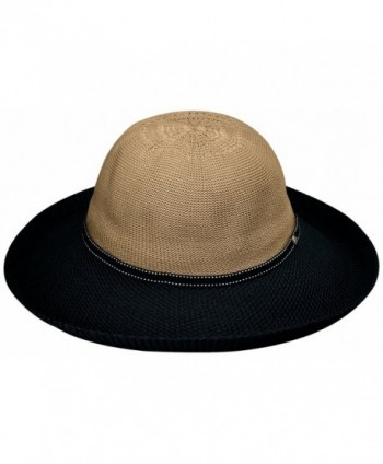 Wallaroo Women's Victoria Two-Toned Sun Hat - UPF 50+ - Packable - Camel/Black - CC118MJYZGD