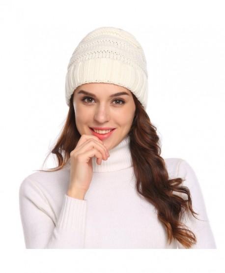 15e6a9f45d0 Chigant Knit Beanie Headwear - Warm Stretchy Soft Beanie Hats for Men    Women - White