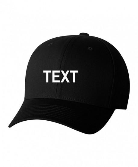 Flexfit Custom Name Embroidered 5001 V-Flex Twill Fitted Baseball Cap - Black - CH186M8OIQ2