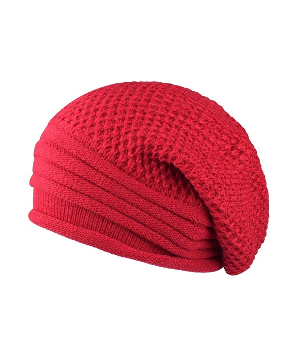 CEAJOO Adult Outdoor Skull Cap Warm Slouch Beanie Hat Winter Knit Cap For Cycling Skiing - Red - CG1868GC8QS