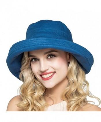 HH HOFNEN Summer Cotton Linen Packable Bucket Sun Hats For Women Fold-Up boonie Fishing Hat - Navy - CG17YGUG2WU